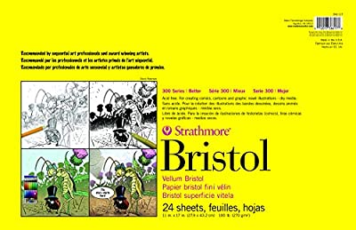 Strathmore Paper 300 Series Sequential Art Bristol, Smooth, 11 x 17 Inches, White 24 Sheets from Strathmore
