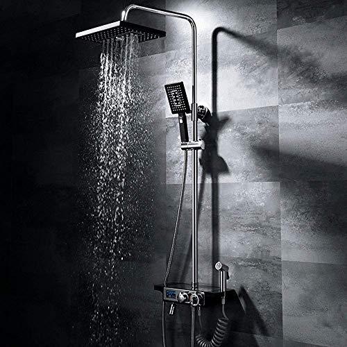 CAIJINJIN Juego de ducha Ascensor Bar con el grifo bidé Hermosa práctica negro Baño Ducha grupo de presión del termostato de control de temperatura Pantalla LED 4 Función Sistema de ducha de mano supe
