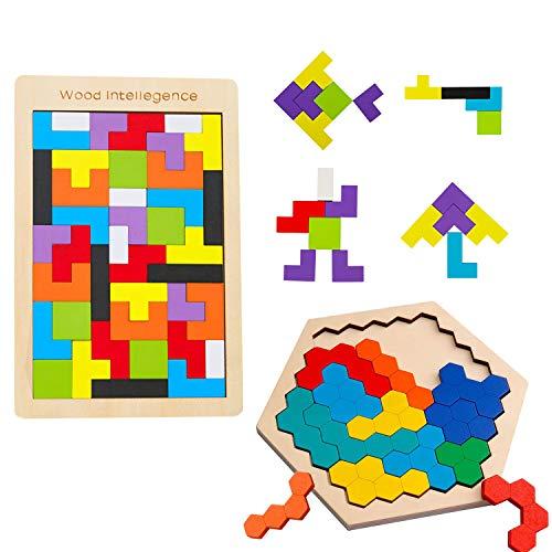 Sunarrive Tetris und Hexagon Holzpuzzle für Kinder - Denkspiele - Holz Logikspiele Tangram Puzzle - Iq Spiele - Montessori Spielzeug ab 5 Jahre - Konzentrationsspiele Geschicklichkeitsspiel Legespiel