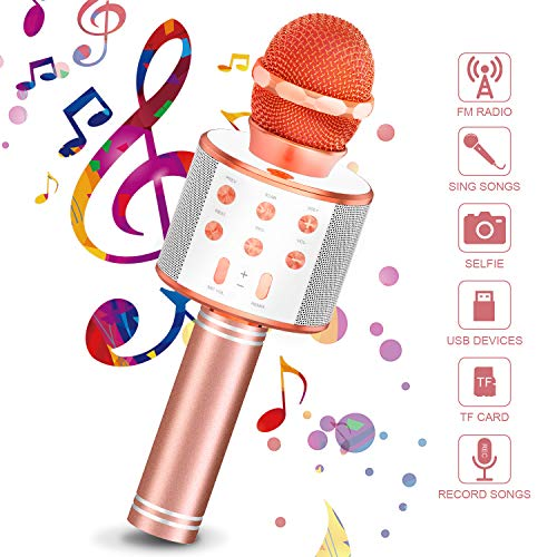 Best Price Wireless Bluetooth Karaoke Microphone Machine (Rose gold)