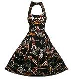 DAROJ Women 1950s Vintage Floral Halter Neck Retro Rockabilly Style Swing Dress S Black (Apparel)