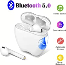 Bluetooth Wireless Earbuds Active Noise Cancelling Headphones with Charging Case Auto Pairing TWS Stereo Earphones Built in Mic Headset Premium Sound for Sports Workout Gym White