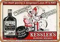 2個 8 x 12 CM メタル サイン - Kessler's Blended Whiskey メタルプレート レトロ アメリカン ブリキ 看板