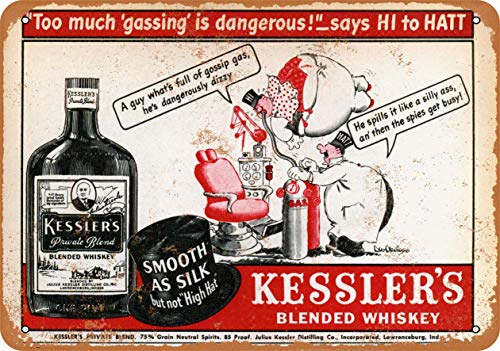Vintage Decorative Metal Signs Kessler'S Blended Whiskey Metal Tin Sign Wall Decor 12 X 18 Inches