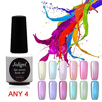 Joligel Lot de 12 vernis à ongles gel UV LED pastel couleur bonbon effet nacre 7,3 ml