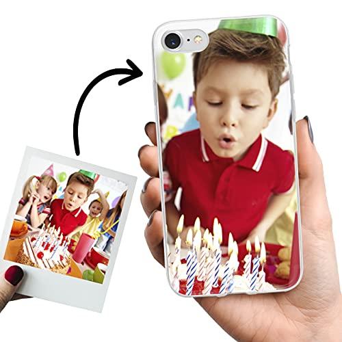 Phone Case Trends – Funda iPhone 8, iPhone 7 y iPhone SE 2020 Personalizada con tu Foto o Texto – Carcasa Personalizable Gel Flexible - Funda Transparente y de Silicona -Impresión Directa en Funda