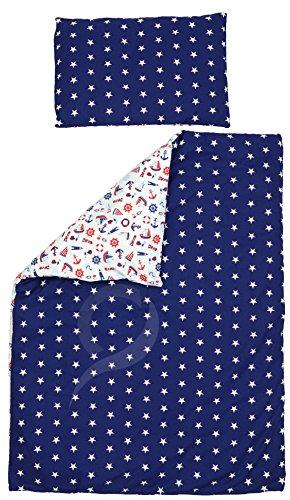 Reversible Cot Duvet Cover and Pillowcase Set - 100cm x 135cm, 100% COTTON (nautical white & white navy stars)