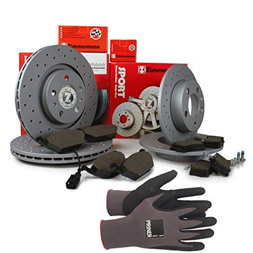 Inspektionspaket Zimmermann Sport Bremsen Set inkl. Bremsscheiben und Bremsbeläge für vorne und hinten enthalten, 100% passend für Ihr Fahrzeug, inkl. Priner Montagehandschuhe, AN121