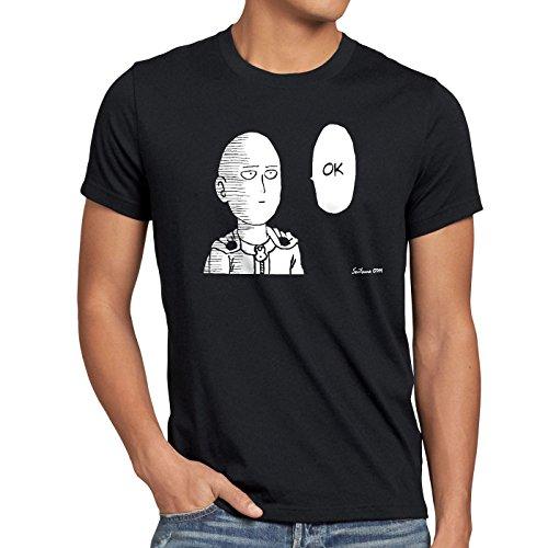 CottonCloud Saitama OK Manga Herren T-Shirt One Punch OPM, Größe:M, Farbe:Schwarz