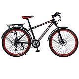 26' Montaña Bicicleta para Hombre Mujer, Alto Carbono Acero Bold Suspension Frame Bicicletas Engranajes, 21 velocidades Frenos de Disco Adultos Bicicleta de montaña