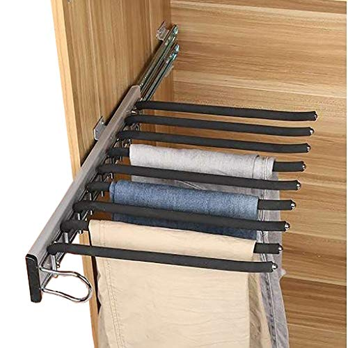 Schrank herausziehen Hosen-Rack, 9 Schal Halter-Aufhänger-Schiene, Ausziehbare Hose Kleiderbügel Geeignet for Kleiderschrank-Tiefe 47cm (Color : Left-Side mounting)
