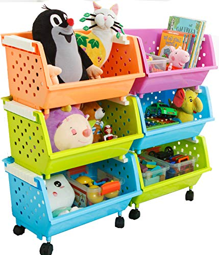 MAGDESIGNER Kids' Toys Chest Large Baskets Storage Bins Organizer with Wheels Can Move EverywhereNatural/Primary (Primary Collection)(6 Baskets Choose)