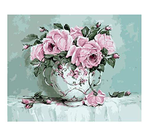 DIOPN roze roos vaas bloem DIY digitaal schilderen op cijfers moderne kunst canvas schilderij uniek geschenk wooncultuur (frameloos 40 * 50 cm)