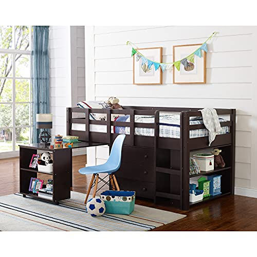Naomi Home Low Study Loft Bed Multifunctional Space Saving Bunk Bed with Ladder, Storage Desk Shelf and Bookcase for Kids, Children - Twin, Espresso