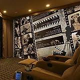 CQDSQN 3D pegatinas de pared Auto-adhesivo Foto en blanco y negro de estrella de cine Papel pintado Mural Comida y bebida Pizza Restaurante Tienda de café Mural Pelo Uñas Belleza Tema M(W)350x(H)256cm