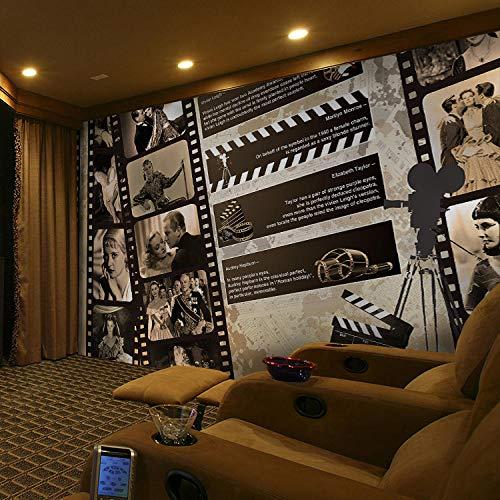 MGQSS 3D Wandbild selbstklebende Tapete Filmstar Schwarz-Weiß-Foto Kino 3D Kinderzimmer Tapete Poster Fototapete Junge Mädchen Schlafzimmer Raumdekoration Umweltschutz(B)400x(H)280 cm