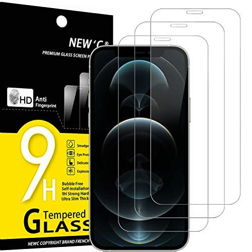 "NEW'C 3 Unidades, Protector de Pantalla para iPhone 12 Pro Max (6.7""), Antiarañazos, Antihuellas, Sin Burbujas, Dureza 9H, 0.33 mm Ultra Transparente, Vidrio Templado Ultra Resistente"