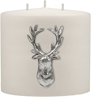 Kenneth Turner Stag Collection Double Headed Candle - White/Silver