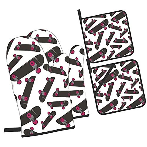 YOLIKA Skateboard Extreme Sports Board,4Pcs Oven Mitts and Pot Holders Sets,High Heat Resistant Kitchen Oven Gloves with Non-Slip Hot Pads for Cooking,Baking,Grilling