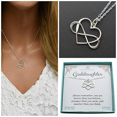 """Infinity Heart Charm Pendant in Sterling Silver on an 18"""" Sterling Silver Cable Chain. Gift for Goddaughter. Be Who God Meant You To Be"""