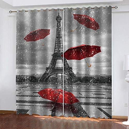 Schlafzimmer Vorhänge Paris Tower Red Umbrella Print Verdunkelungsvorhänge Kids Home Wohnzimmer Bürofenster Dekoration 220x215cm(W*H