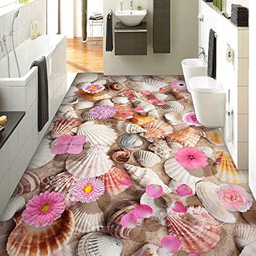 Papel tapiz mural personalizado 3D Conch Flowers Azulejos de piso Pintura Etiqueta de la sala de estar Baño PVC Vinilo 3D Papel tapiz para pisos Decoración para el hogar -250 * 175cm