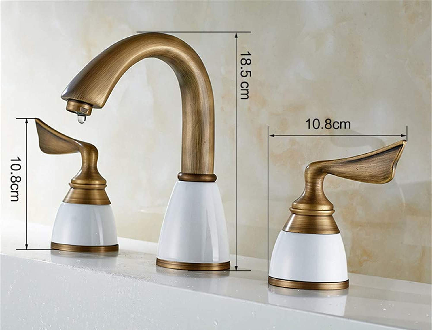 XPYFaucet Faucet Tap Taps All-copper basin three-piece three-hole split hot and cold water
