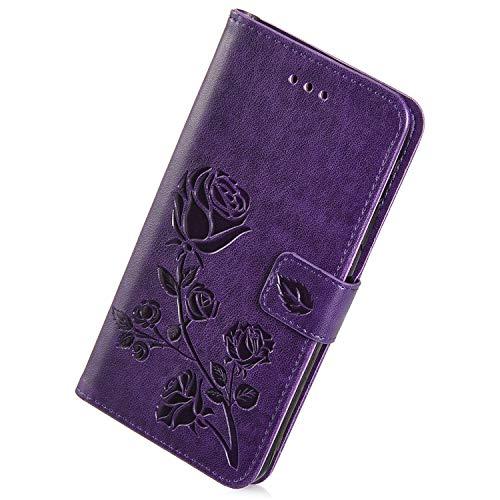 Herbests Kompatibel mit Samsung Galaxy Grand Prime Handy Hülle Handytaschen Rose Blumen Muster Retro Lederhülle Brieftasche Klapphülle Leder Tasche Handy Schutzhülle Flip Hülle Cover Etui,Lila