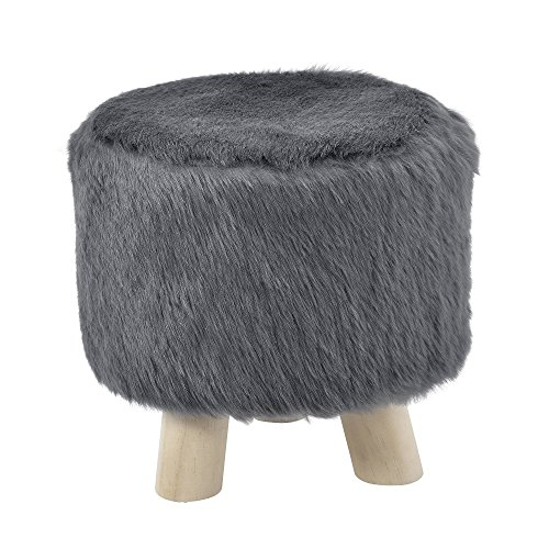 [en.casa] Stylischer Hocker inkl Sitzfläche aus Kunstfell Grau mit Holzbeinen