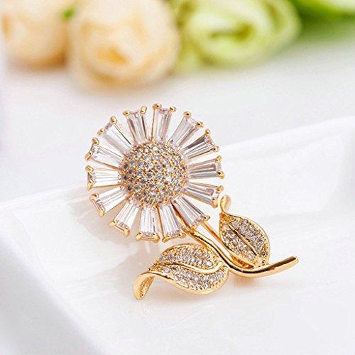 Adisaer Rosegold Vergoldet Broschen Damen Brosche Hochzeit Corsage Braut Daisy Sonnenblume Kristall Zirkonia - 3