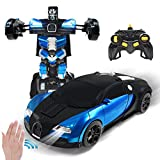 Jeestam RC Robot Car for Kids Transform Car Toy, Deformation Remote Control Vehicle with Gesture Sensing One Button Transformation 360°Rotating Drifting 1:14 Scale, Best Gift for Boys and Girls (Blue)