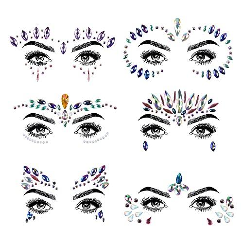 URAQT Cara de Gemas, Cristales cara Pegatinas, Joyas Sirena Cara Gems Maquillaje Facial Joyas Cristales Cuerpo del Rhinestone
