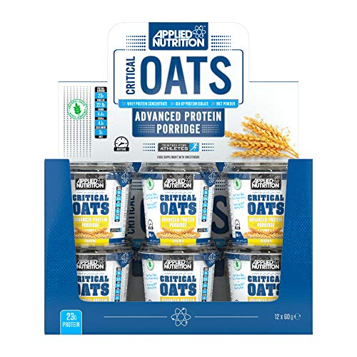 Applied Nutrition Critical Oats Protein Porridge Breakfast Wholegrain Oats, High Protein, Low Sugar, Oats So Simple with Whey Protein Isolate, On-The-Go Convenient Snack Pot, Box 12x60 (Blueberry)