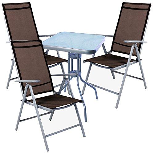 Mojawo Bistro Ensemble 4 pièces de table bistro en métal 60 x 60cmh70 cm + 3 chaises en aluminium/textilène gris argenté/marron chocolat