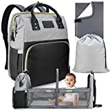 The Essential Tot 3-in-1 Baby Diaper Bag Backpack with Changing Station and Foldable Travel Bassinet - Gray, Easily Wipeable, Vegan Leather - Nappy Bag and Change Pad