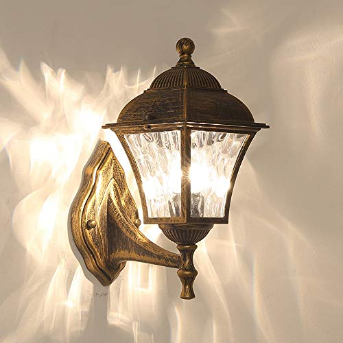 YBright Vintage Wall Light Fixture Metal Bracket Oil Polished Bronze Finish Waterproof Wall Lamp with Water Glass Shade E27 Socket Outdoor Glass Wall Sconce Lantern for Garden Hallway Court-Yard Porch