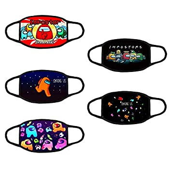 5-Pcs Youth 3D Animation,Game Mask,Protection Reusable Washable Dust Mask Suitable for Boys Girls  Among us,6.7IN L  x 5.1IN  H