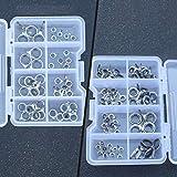 Sunnyflowk 1 Juego de guías de caña de pescar Consejos Kit de reparación Anillos de cerámica de acero inoxidable Guía de caña de pescar con estuche Aparejos de pesca (70 piezas) (plateado y negro)