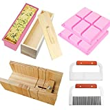 RETON 8 Pack Soap Making Cutting Tool Set Including 1 x Wooden Cutter Mold, 1 x Rectangle Silicone...