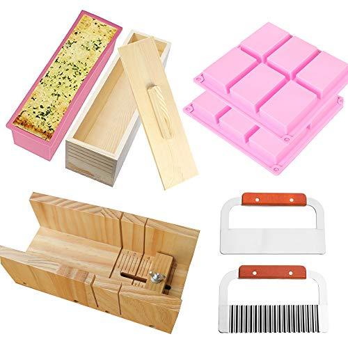 RETON Paquete de 8 Juego de herramientas para cortar jabón, 1 x molde de corte de madera, 1 x molde de pan de silicona rectangular con caja y tapa de madera, 2 x cortador, 2 x jabón para cavidades