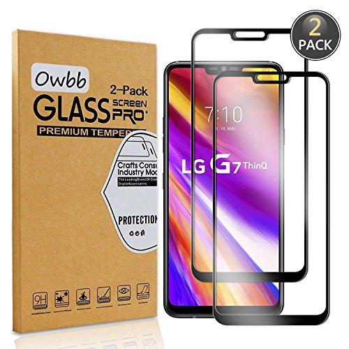 Owbb [2 Pezzi] Nero Vetro Temperato Pellicola per LG G7 ThinQ Full Coverage Protettiva Protezione 9H Durezza 99% Alta Trasparente
