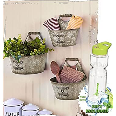 Gift Included- Set of 3 Rustic Country Living Wall Buckets Home Decor Accents + FREE Bonus 23 oz Water Bottle byHomecricket