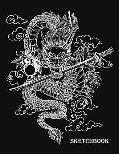 Sketchbook: Black & White Dragon Silhouette Monster Activity Book - Blank Paper Sketchbook for Drawing, Crayon Coloring, Doodling & Writing, Painting, ... Boys, Kids, Teens, Students, Teacher, Adult