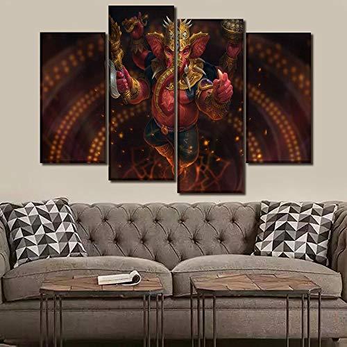 ANTAIBM® 4 Dekorative Malerei Wohnzimmer Fresko Holzrahmen - verschiedene Größen - verschiedene StileHD gedruckte Bilder Wandkunst Leinwand Poster Home Decor 4 Stück Vinayaka Lord Ganesha Ganpati Bapp