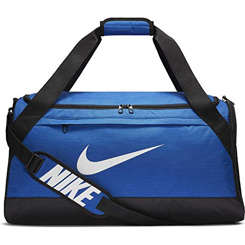Nike Brasilia Training Duffel Bag, Versatile Bag with Padded Strap and Mesh Exterior Pocket, Medium, Game Royal/Black/White