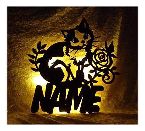 Schlummerlicht24 Led 3d Deko Lampe Kitticat Katze mit Name Kinderzimmer Wohnzimmer Schlafzimmer