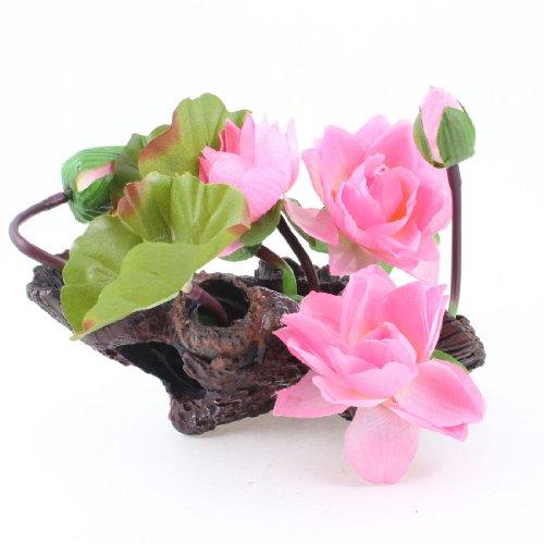 uxcell Lotuspflanze für Aquarien, 23 cm, Grün/Rosa