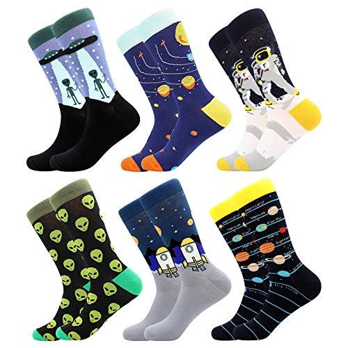 BONANGEL Herren Lustige Bunte Socken,Herren witzige Strümpfe, Fun Gemusterte Muster Socken, Verrückte Socken Modische Mehrfarbig Klassisch als Geschenk, Neuheit Sneaker Crew Socken (6 Paar-Galaxy3)