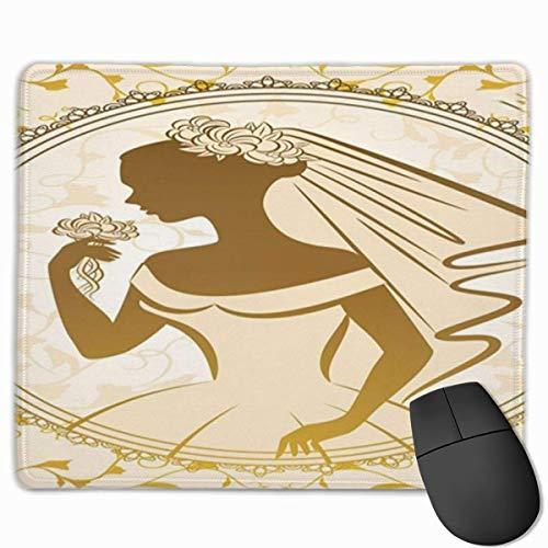 Mousepad, bureaumat, eenkleurig silhouet, modern, vintage, bruidsjurk, bloemenpatroon, beige en sepia