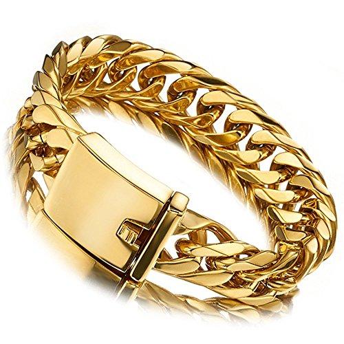 Jxlepe Miami Cuban Link Bracelet 18K Gold 16mm Big Stainless Steel Curb Chain for Men (8)